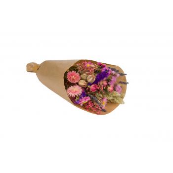Gedroogd boeket roze en paars